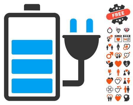 Chargez l'icône de la batterie avec de beaux symboles bonus. Le style d'illustration vectorielle est un élément iconique plat pour la conception Web, les interfaces utilisateur de l'application. Vecteurs