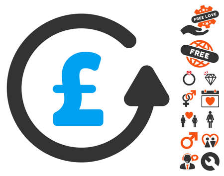 Chargeback Pound pictograph with bonus decoration images. Vector illustration style is flat iconic symbols for web design, app user interfaces.