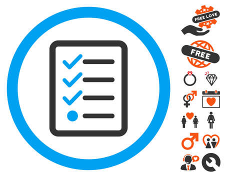 nomenclature: Checklist icon with bonus decorative symbols. Vector illustration style is flat iconic elements for web design, app user interfaces.