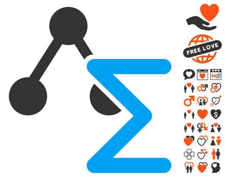 analyse: Chemical Formula pictograph with bonus valentine symbols. Vector illustration style is flat iconic symbols for web design, app user interfaces. Illustration