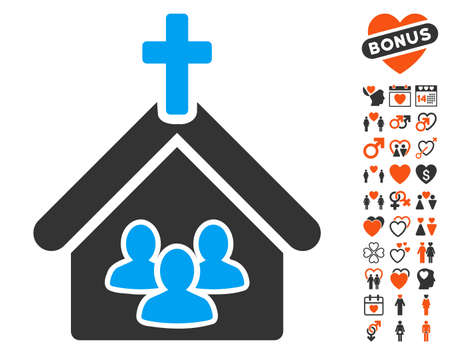 Church Icon With Bonus Marriage Symbols Vector Illustration