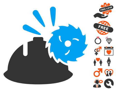 head protection: Circular Blade Head Protection icon with bonus romantic pictures. Vector illustration style is flat iconic symbols for web design, app user interfaces.