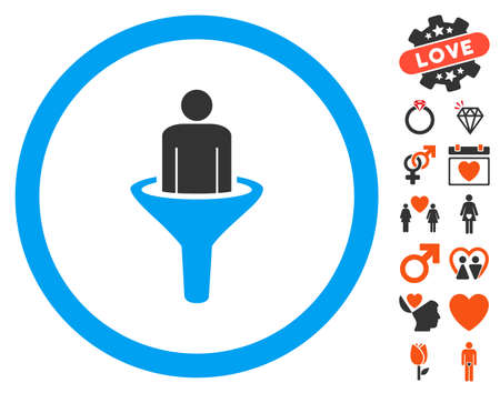 Client Funnel icon with bonus dating pictograph collection. Vector illustration style is flat iconic symbols for web design, app user interfaces.