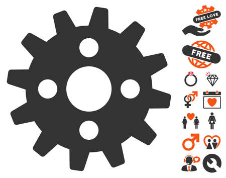 Cogwheel pictograph with bonus decorative pictograph collection. Vector illustration style is flat iconic elements for web design, app user interfaces.