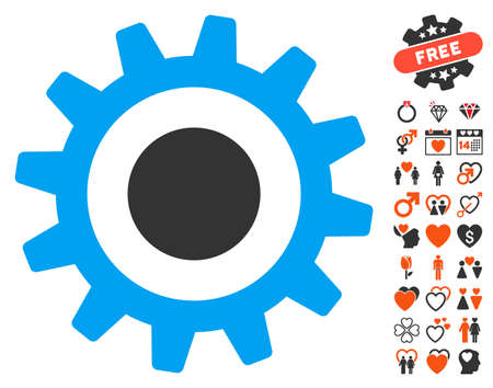Cogwheel pictograph with bonus love graphic icons. Vector illustration style is flat iconic symbols for web design, app user interfaces. Illustration