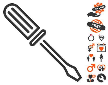 Contour Screwdriver icon with bonus love graphic icons. Vector illustration style is flat iconic symbols for web design, app user interfaces.