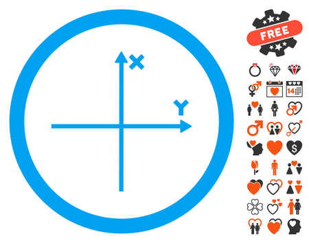 Coordinate Axis pictograph with bonus marriage symbols. Vector illustration style is flat iconic symbols for web design, app user interfaces.