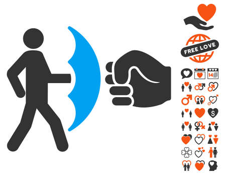 Crime Protection icon with bonus dating pictures. Vector illustration style is flat iconic elements for web design, app user interfaces.