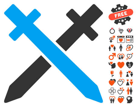 Crossing Swords pictograph with bonus decoration images. Vector illustration style is flat iconic symbols for web design, app user interfaces. Illustration