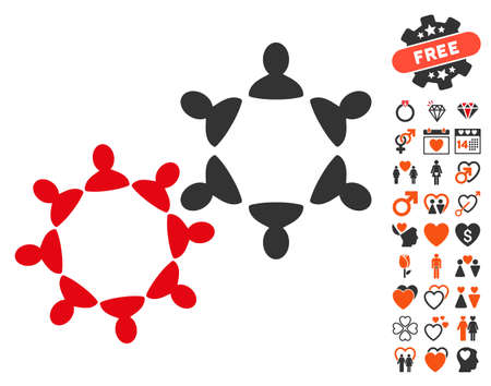 Collaboration pictograph with bonus decoration graphic icons. Vector illustration style is flat iconic symbols for web design, app user interfaces.