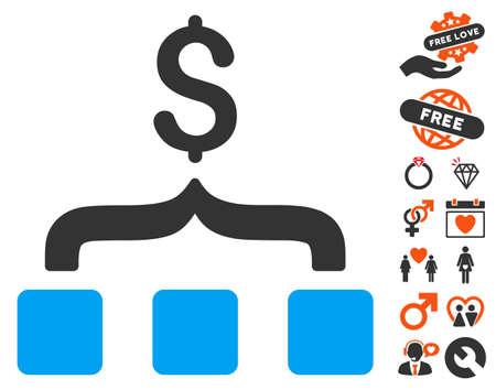Collect Money icon with bonus valentine symbols. Vector illustration style is flat iconic symbols for web design, app user interfaces.