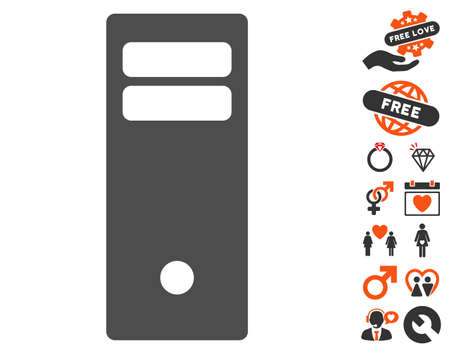 mainframe: Computer Mainframe pictograph with bonus love icon set. Vector illustration style is flat iconic symbols for web design, app user interfaces.