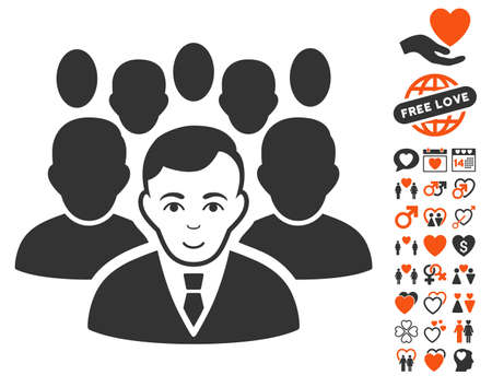 Crowd pictograph with bonus lovely images. Vector illustration style is flat iconic symbols for web design, app user interfaces.