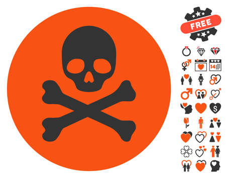 piracy: Death icon with bonus decorative pictograms. Vector illustration style is flat iconic symbols for web design, app user interfaces.