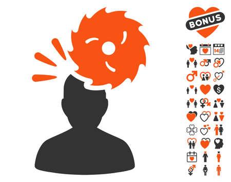 enforce: Destroy Person icon with bonus decorative clip art. Vector illustration style is flat iconic symbols for web design, app user interfaces.