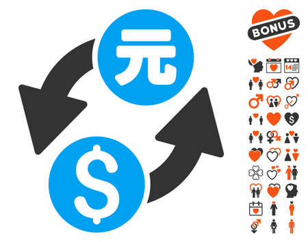 Dollar Yuan Exchange pictograph with bonus dating icon set. Vector illustration style is flat iconic symbols for web design, app user interfaces. Illustration