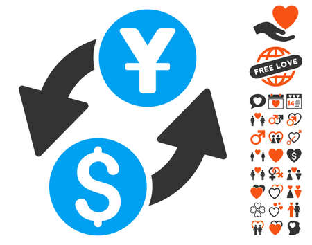 Dollar Yuan Exchange icon with bonus romantic design elements. Vector illustration style is flat iconic elements for web design, app user interfaces.