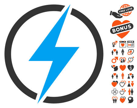 Electricity pictograph with bonus passion pictograms. Vector illustration style is flat iconic elements for web design, app user interfaces. Illustration