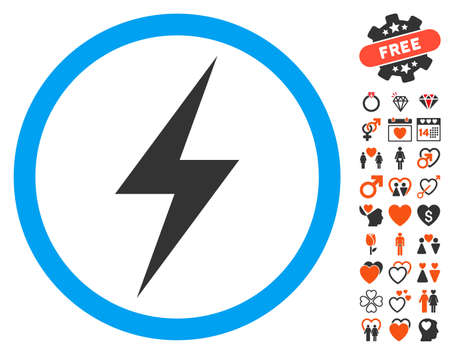 Electricity Symbol icon with bonus marriage symbols. Vector illustration style is flat iconic elements for web design, app user interfaces.
