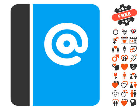 Emails icon with bonus decoration pictograph collection. Vector illustration style is flat iconic elements for web design, app user interfaces.