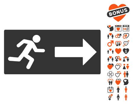 icono de la salida de emergencia con el bonus de conjunto icono romántico. estilo de ilustración vectorial es símbolos icónicos planos de diseño web, interfaces de usuario de aplicaciones. Ilustración de vector