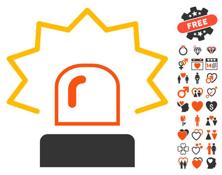 Emergency Siren pictograph with bonus love pictograph collection. Vector illustration style is flat iconic elements for web design, app user interfaces. Illustration