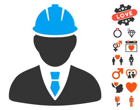 Engineer icon with bonus dating pictures. Vector illustration style is flat iconic elements for web design, app user interfaces.