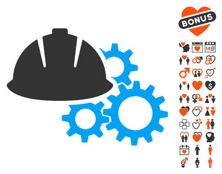 Engineering Helmet And Gears icon with bonus passion pictures. Vector illustration style is flat iconic symbols for web design, app user interfaces. Illustration