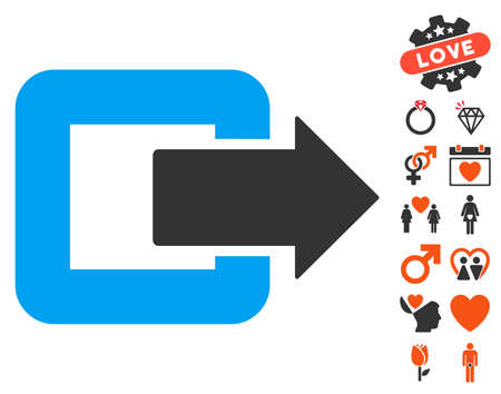 Exit Door pictograph with bonus decoration graphic icons. Vector illustration style is flat iconic symbols for web design, app user interfaces.