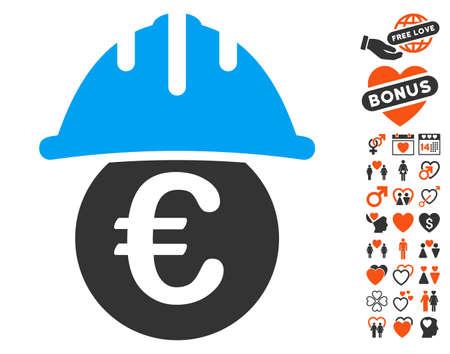 Euro unter Schutzhelm Symbol mit Bonus Ehe Clip Art. Vektorillustrationsart ist flache ikonenhafte Elemente für Webdesign, APP-Benutzerschnittstellen.