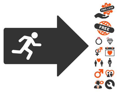 evacuate: Exit Arrow icon with bonus decoration graphic icons. Vector illustration style is flat iconic symbols for web design, app user interfaces.