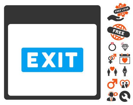 escape plan: Exit Caption Calendar Page icon with bonus passion icon set. Vector illustration style is flat iconic elements for web design, app user interfaces.