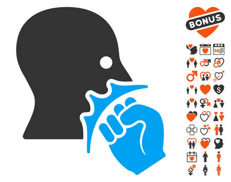 Face Violence Strike icon with bonus love graphic icons. Vector illustration style is flat iconic elements for web design, app user interfaces. Illustration
