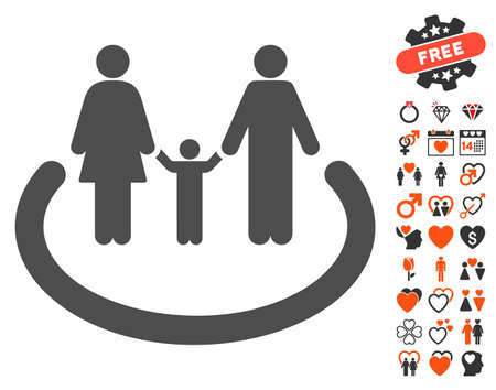 Family Area icon with bonus passion pictograph collection. Vector illustration style is flat iconic symbols for web design, app user interfaces. Illustration