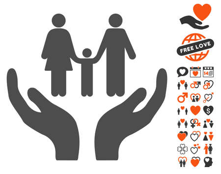 Family Care Hands pictograph with bonus valentine pictograms. Vector illustration style is flat iconic symbols for web design, app user interfaces.