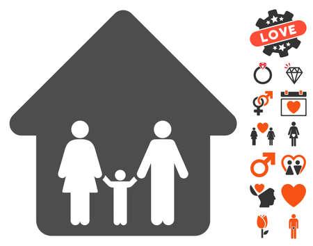 Pictogramme familial avec des icônes graphiques de décoration gratuite. Le style d'illustration vectorielle est un symbole iconique plat pour la conception Web, les interfaces utilisateur de l'application.