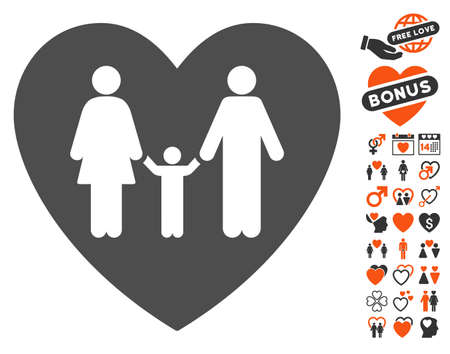 kin: Family Love Heart pictograph with bonus decorative icon set. Vector illustration style is flat iconic symbols for web design, app user interfaces.