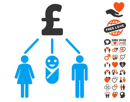 pictograph: Family Pound Budget icon with bonus romantic symbols. Vector illustration style is flat iconic symbols for web design, app user interfaces.