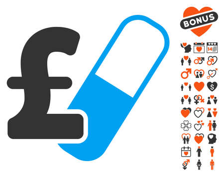 Farma Pound Business pictograph with bonus love clip art. Vector illustration style is flat iconic symbols for web design, app user interfaces.