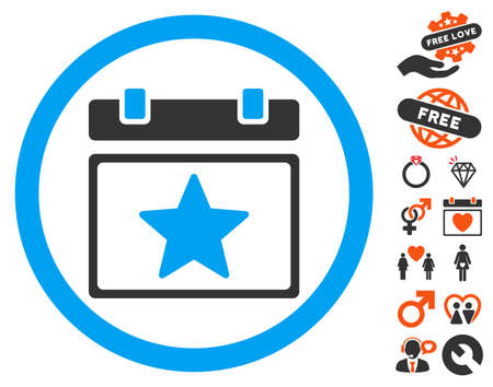 Favourites Day icon with bonus decorative pictures. Vector illustration style is flat iconic symbols for web design, app user interfaces.