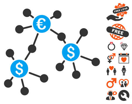 Financial Networks pictograph with bonus decoration symbols. Vector illustration style is flat iconic symbols for web design, app user interfaces.