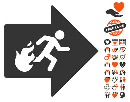 fire exit: Fire Exit pictograph with bonus romantic images. Vector illustration style is flat iconic symbols for web design, app user interfaces.
