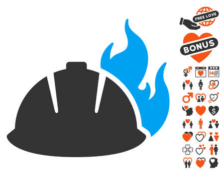 Fire Helmet icon with bonus decoration images. Vector illustration style is flat iconic symbols for web design, app user interfaces. Illustration