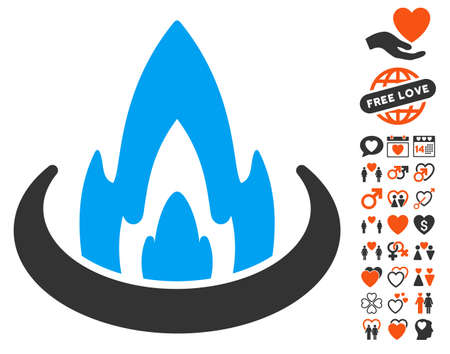 Fire Location pictograph with bonus love design elements. Vector illustration style is flat iconic symbols for web design, app user interfaces. Illustration