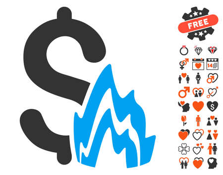 Fire Disaster icon with bonus passion pictograph collection. Vector illustration style is flat iconic elements for web design, app user interfaces.