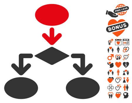 diagrama de flujo: Flowchart pictograph with bonus decorative icon set. Vector illustration style is flat iconic symbols for web design, app user interfaces.