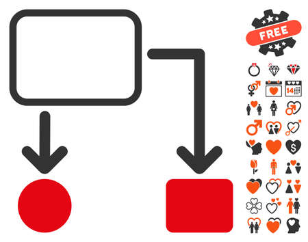 dating strategy: Flowchart Scheme icon with bonus lovely pictograms. Vector illustration style is flat iconic symbols for web design, app user interfaces. Illustration