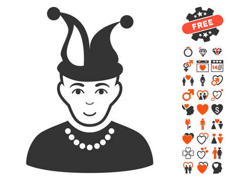Fool icon with bonus valentine icon set. Vector illustration style is flat iconic elements for web design, app user interfaces.