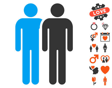 Gay Couple pictograph with bonus decoration icon set. Vector illustration style is flat iconic elements for web design, app user interfaces.