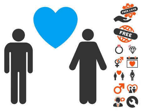 Gay Lovers pictograph with bonus dating images. Vector illustration style is flat iconic symbols for web design, app user interfaces. Illustration